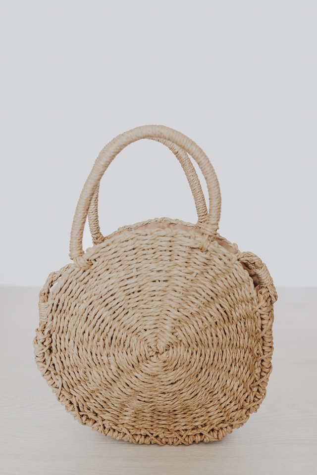 CIRCULAR STRAW BAG CAMEL (SMALL)