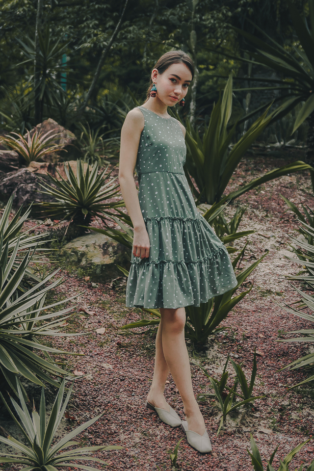 DELIA POLKADOT TIER DRESS (SEAFOAM)