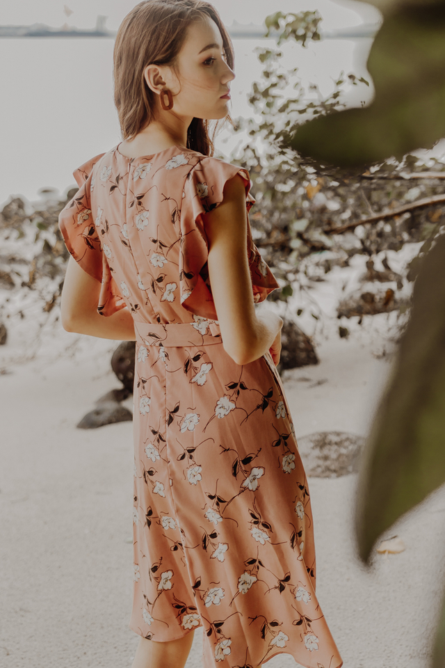 RESONANCE FLORAL MIDIDRESS (PINK)