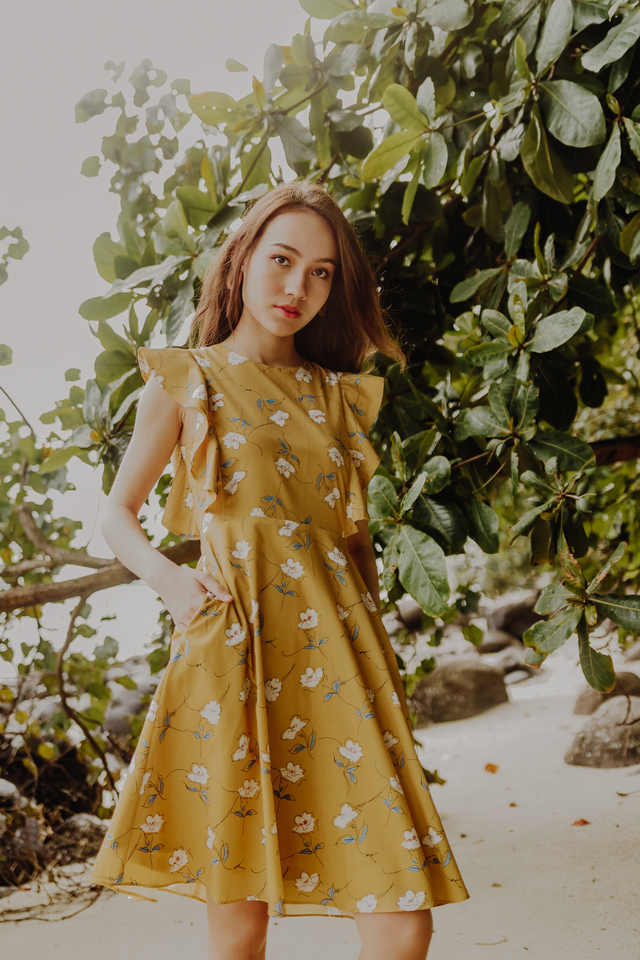 RESONANCE FLORAL MIDIDRESS (YELLOW)