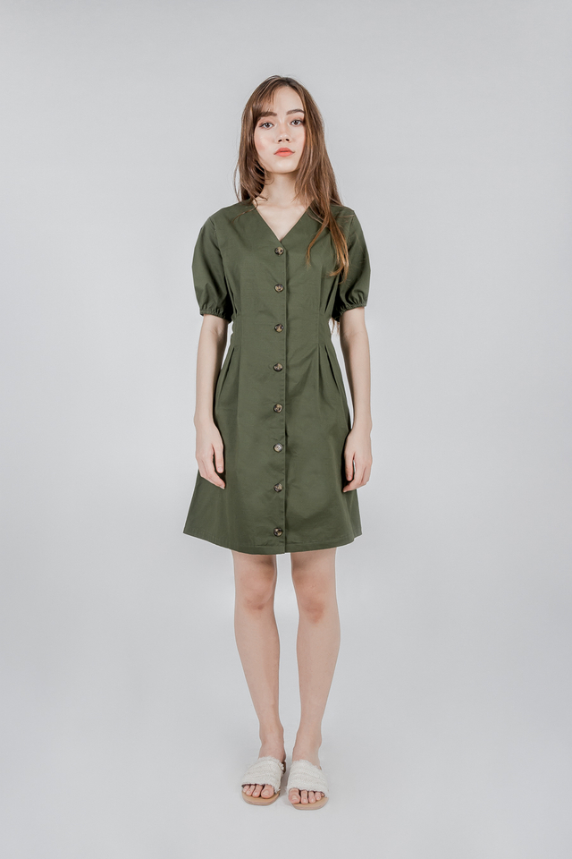 PUFFED SLEEVE BUTTON DRESS (OLIVE GREEN)