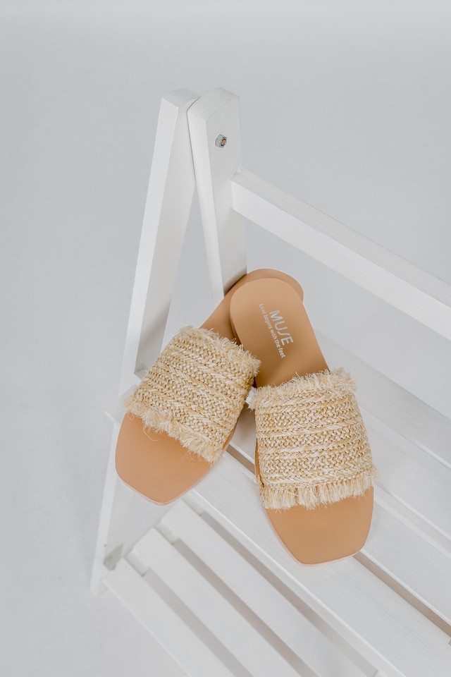 WEAVED SLIP ON SANDALS (CREAM)