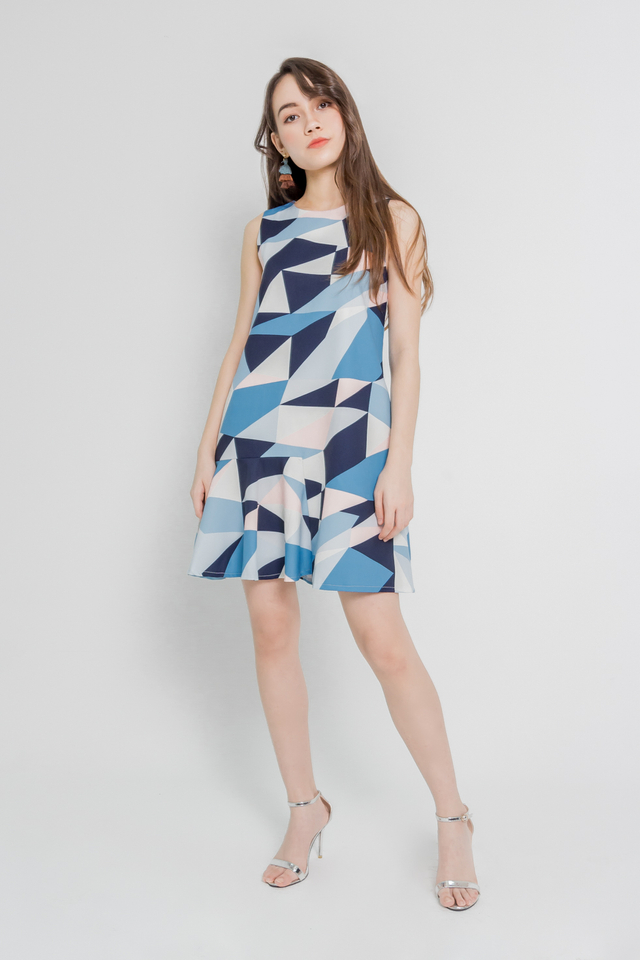 GEOMETRIC RUFFLE HEM DRESS