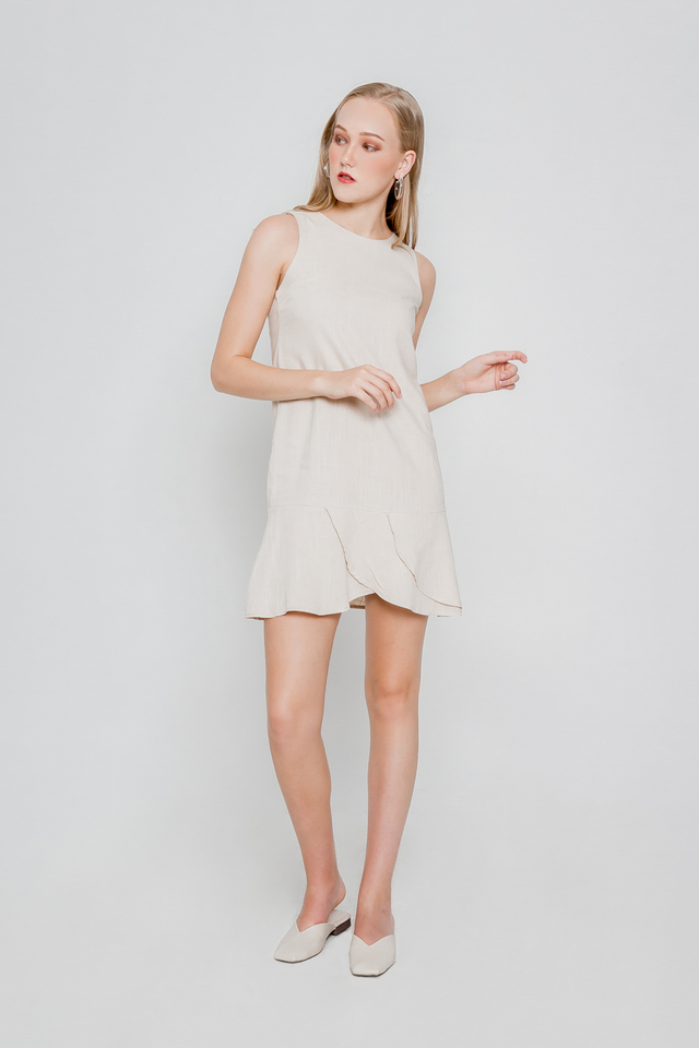 LINEN ASYMMETRICAL HEM DRESS (CREAM)