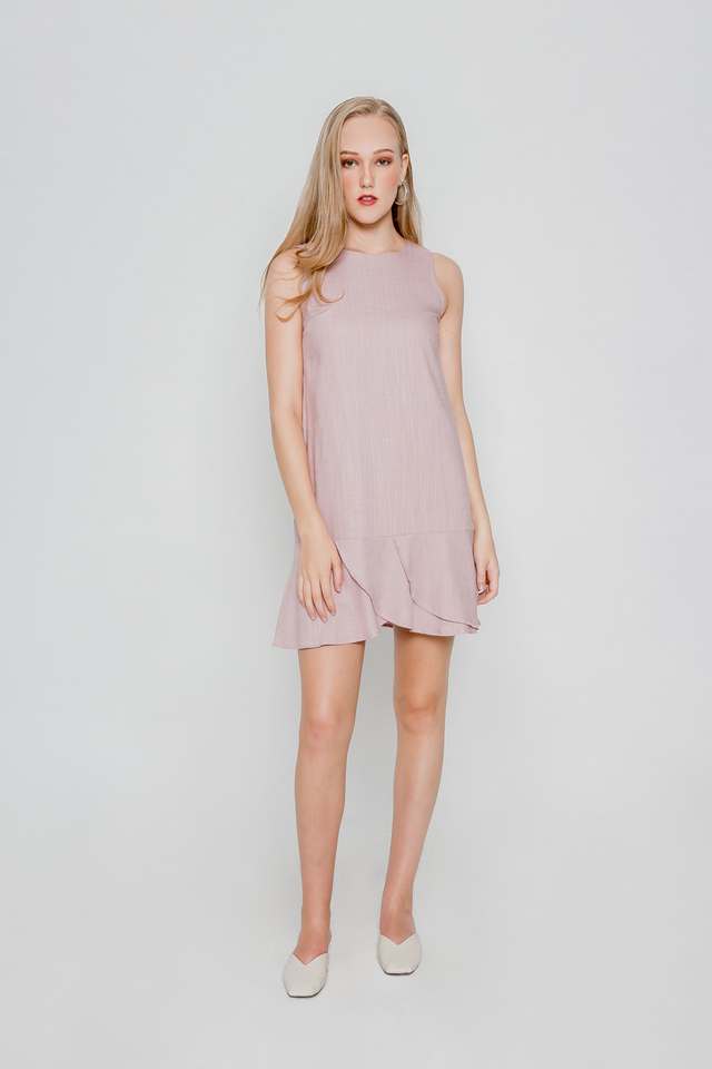 LINEN ASYMMETRICAL HEM DRESS (PINK)