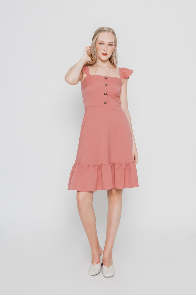 RUFFLE BUTTONED SUN DRESS (ROSE PINK)