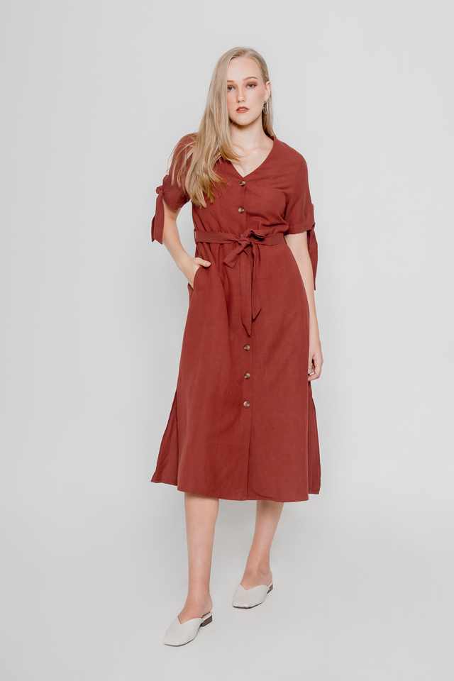 ASHLEY LINEN MIDI DRESS (RUST)