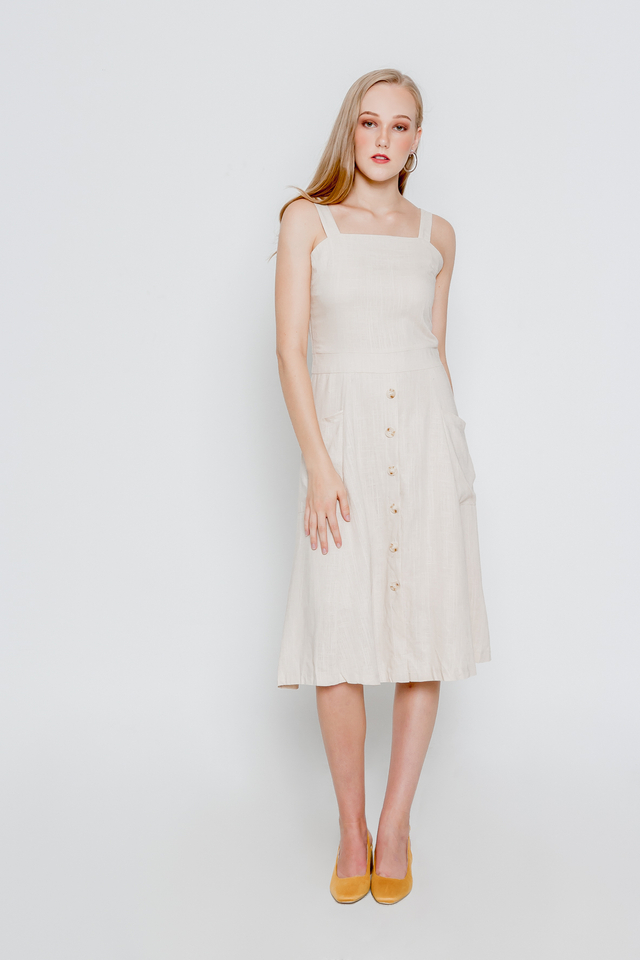ODELA POCKET LINEN MIDI (CREAM)