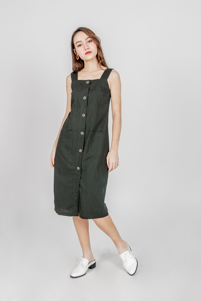SQUARE NECKLINE BUTTONED LINEN MIDIDRESS (FOREST GREEN)