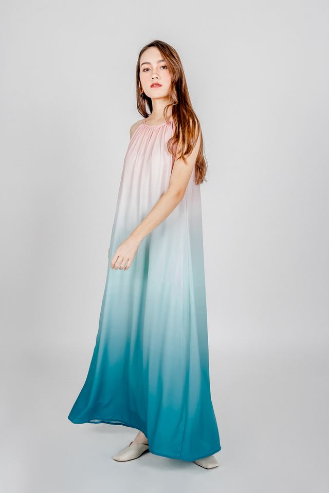 OMBRE CUT IN MAXI DRESS (PINK)
