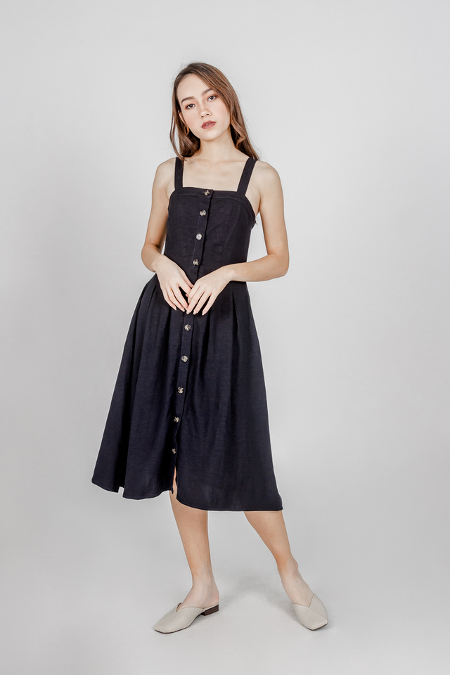 COURTNEY LINEN MIDI DRESS V2 (NAVY)