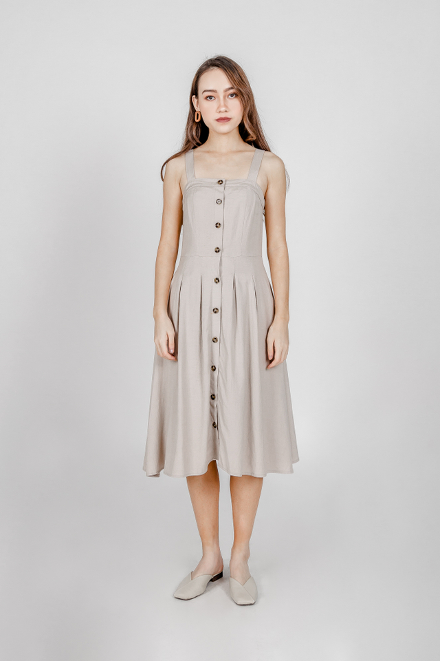 COURTNEY LINEN MIDI DRESS V2 (OATMEAL)