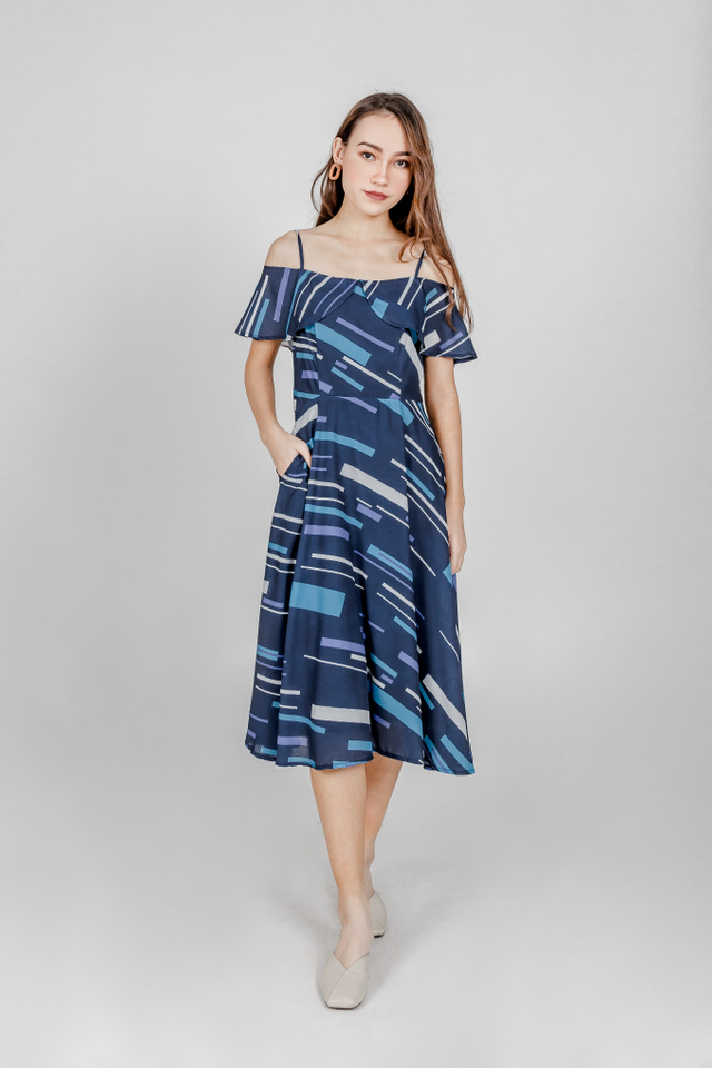 ABSTRACT PRINTED TWO WAY MIDI DRESS (NAVY)
