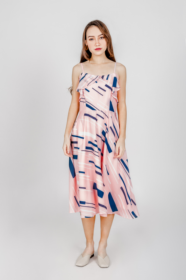 ABSTRACT PRINTED TWO WAY MIDI DRESS (PINK)