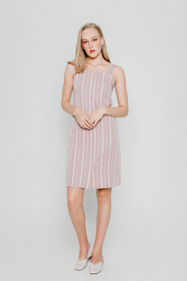 VELDA BUTTONED STRIPE MIDI DRESS
