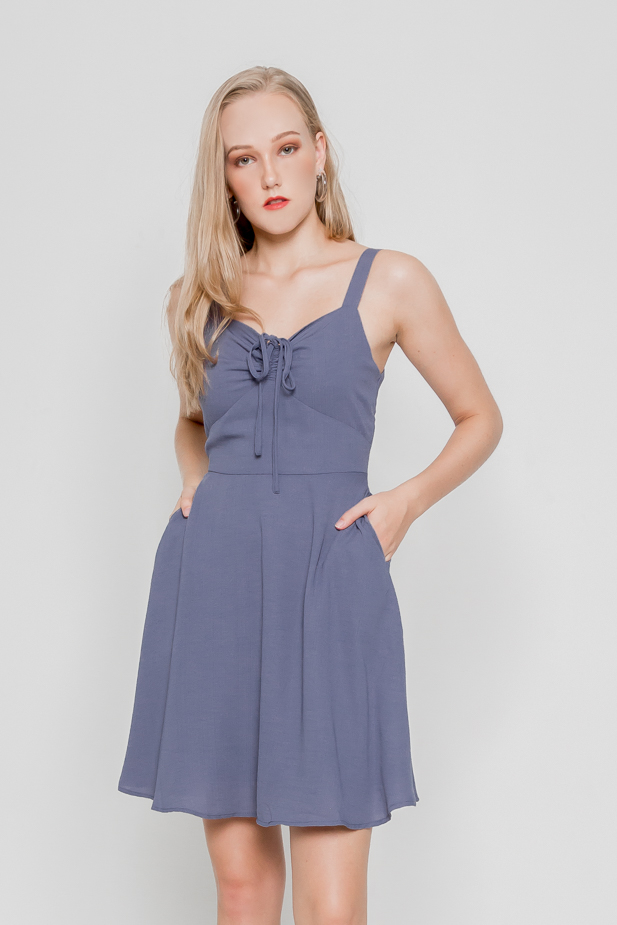 GENIE DRAWSTRING SKATER DRESS (ILIAC BLUE)