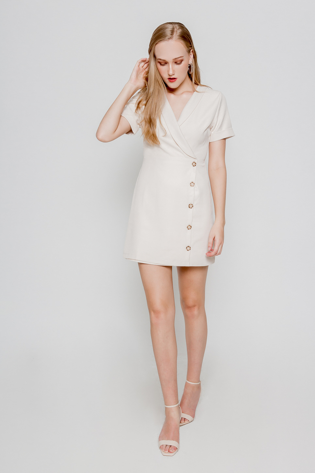 TRENCH BUTTONED DRESS (CREAM)