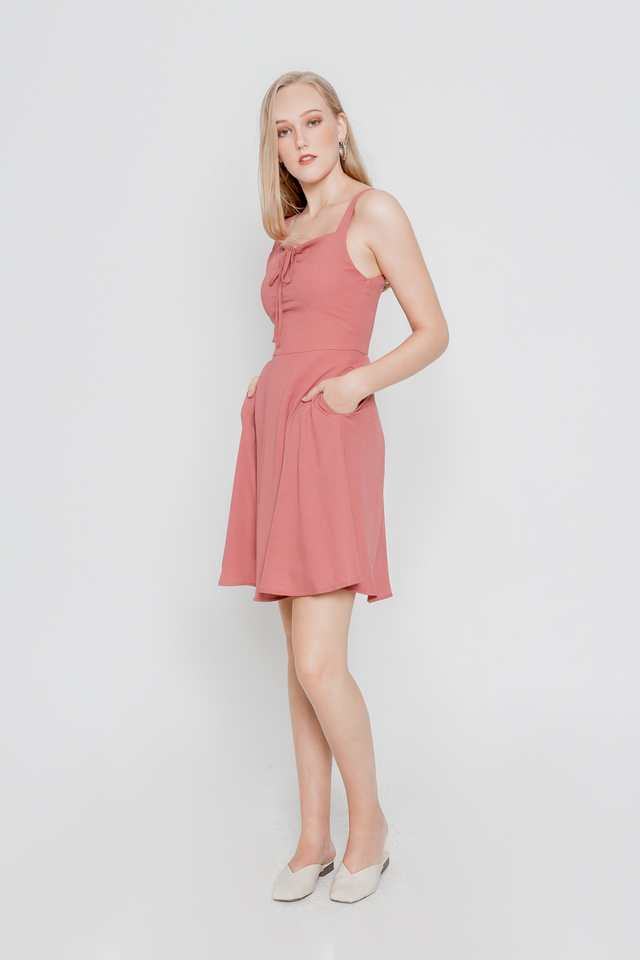 GENIE DRAWSTRING SKATER DRESS (ROSE PINK)