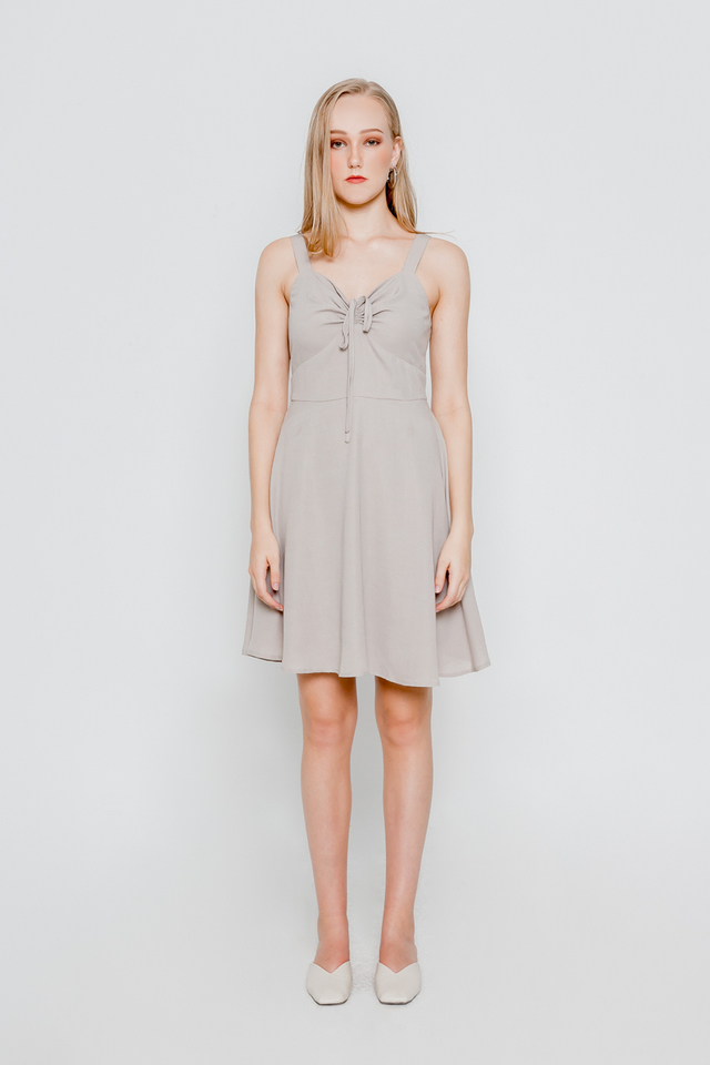 GENIE DRAWSTRING SKATER DRESS (OATMEAL)