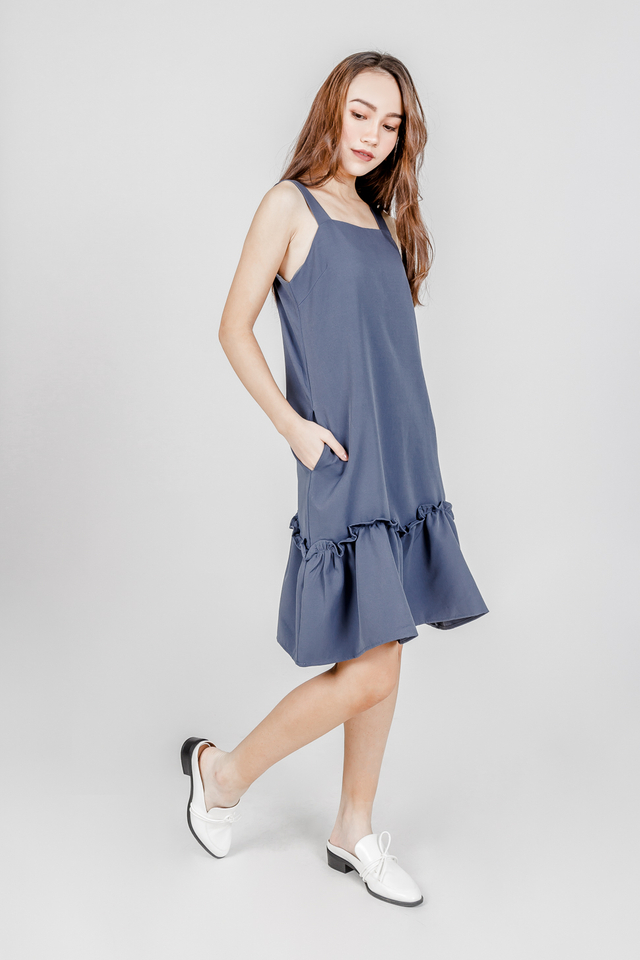 HANNAH DROPWAIST RUFFLE DRESS (ILIAC BLUE)