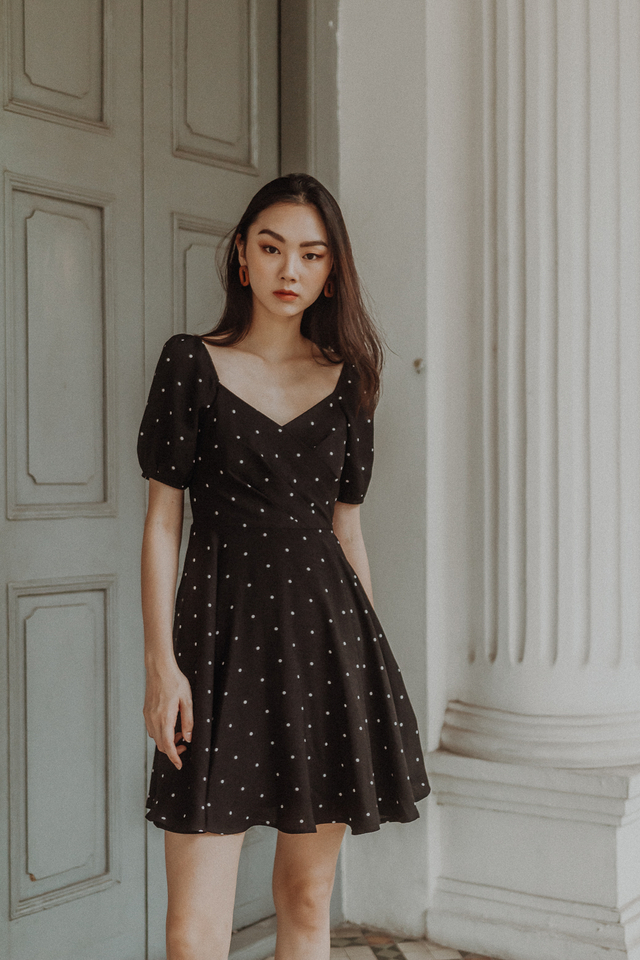 PUFF SLEEVE SKATER DRESS (BLACK POLKADOT)