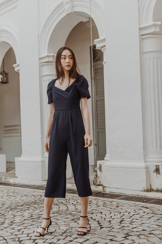 PUFF SLEEVE WRAP JUMPSUIT (NAVY)