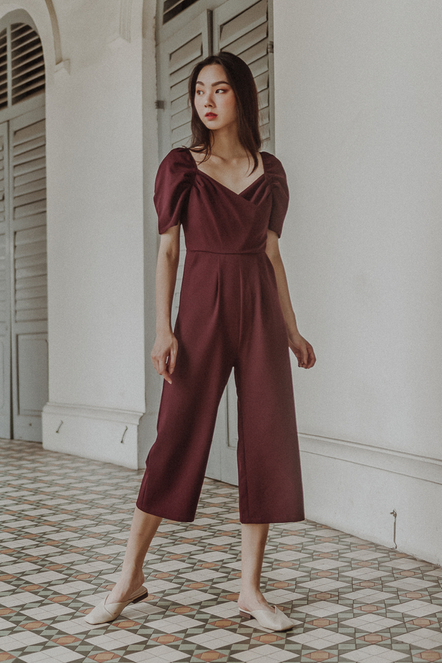 PUFF SLEEVE WRAP JUMPSUIT (BURGUNDY)