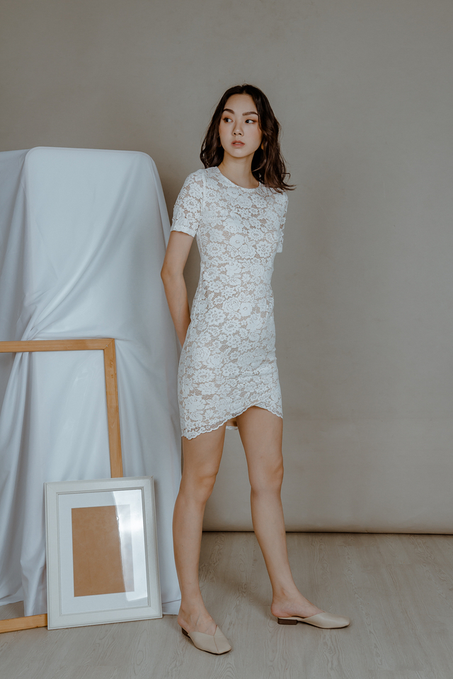 LACE WRAP DRESS (WHITE)
