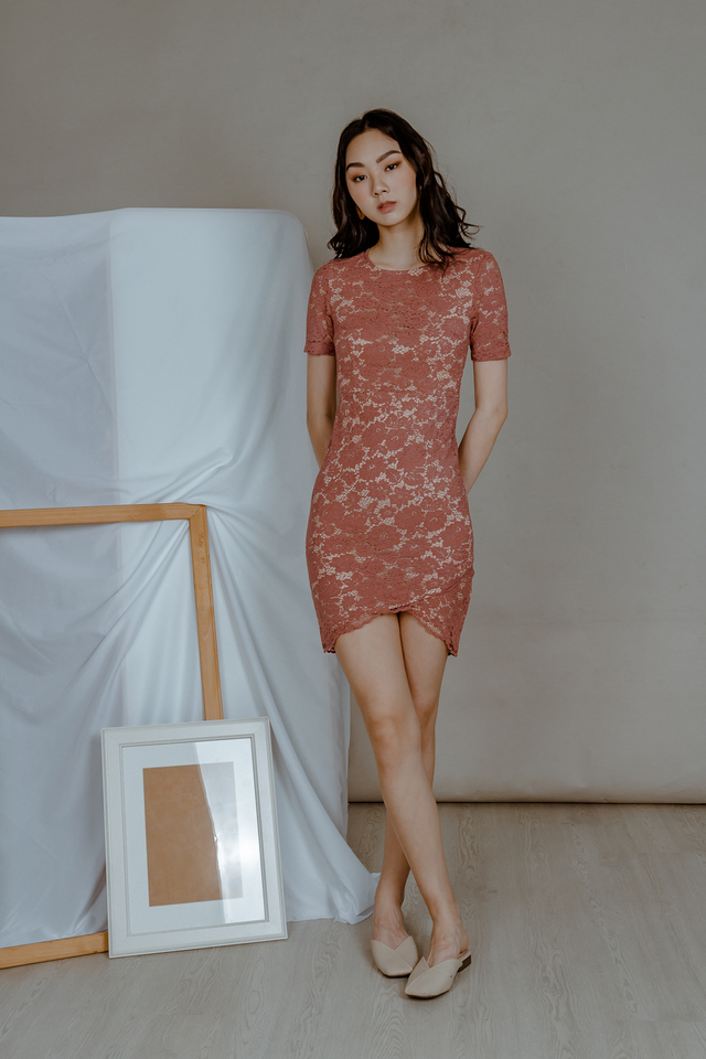 LACE WRAP DRESS (TEA ROSE)