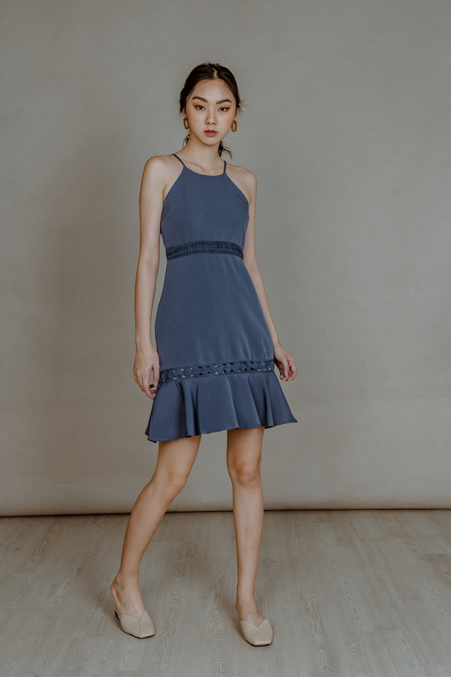 CROTCHET PANEL RUFFLE DRESS (DUSTY BLUE)