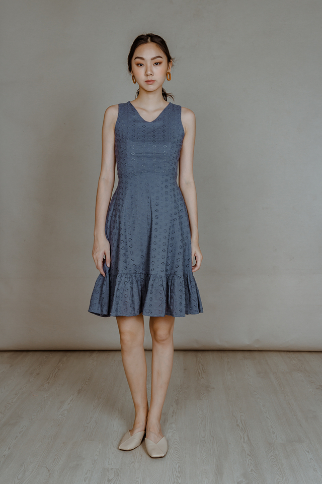 EYELET RUFFLE HEM MIDI DRESS (DUSTY BLUE)