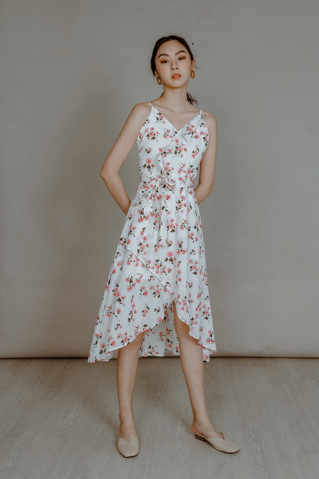 ASYMMETRICAL FLORAL RUFFLE DRESS (WHITE)