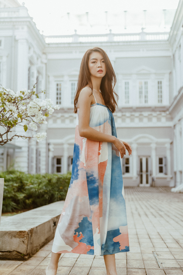 BERLIN SPAG MAXI DRESS (ABSTRACT PRINT)