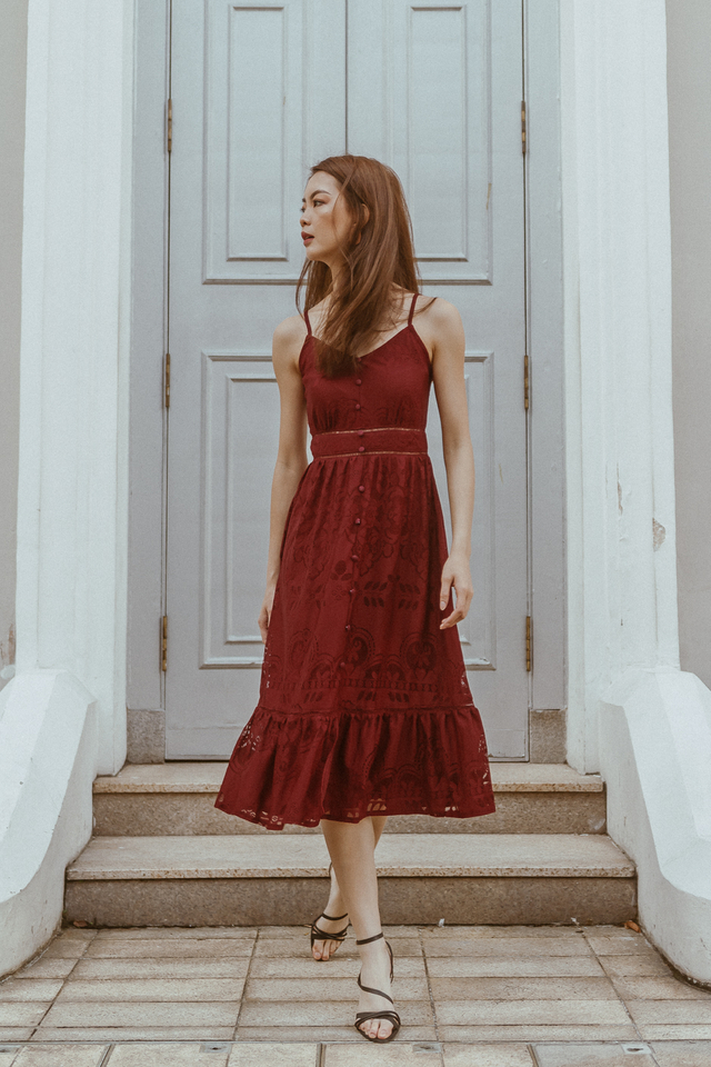 WINSTON LACE PANEL MIDI DRESS (WINE RED)