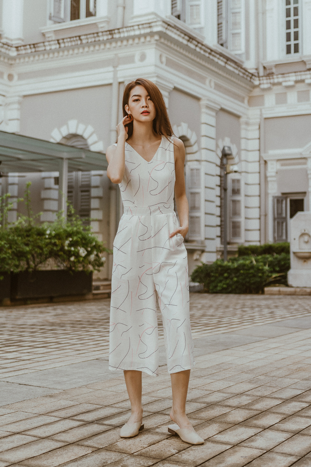 ABSTRACT BRUSHSTROKE JUMPSUIT (WHITE)