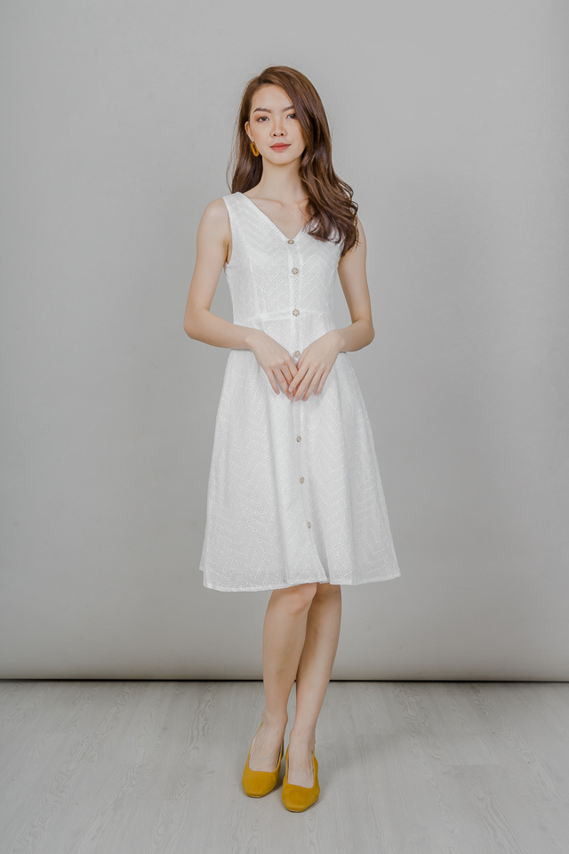 EYELET BUTTONED MIDI DRESS (WHITE)