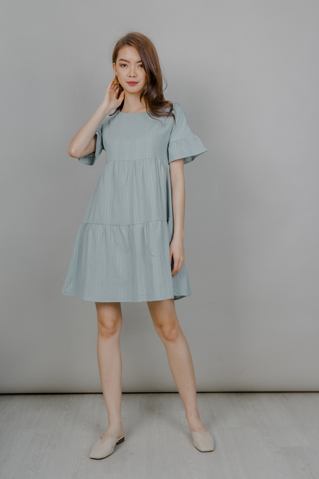 RUFFLE SLEEVE BABYDOLL TIERED DRESS (SAGE)