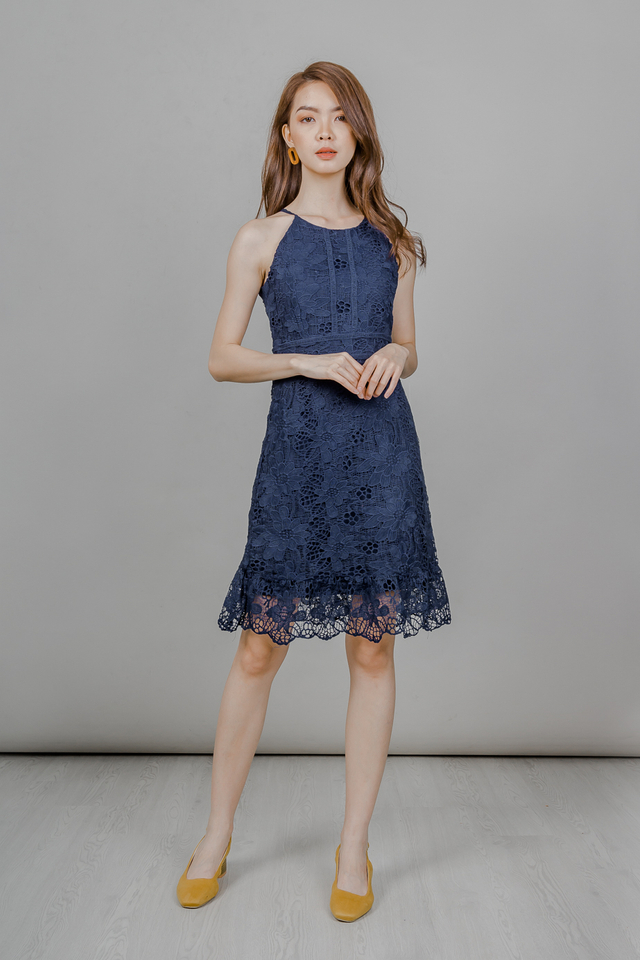 CROCHET RUFFLE HEM DRESS (NAVY)