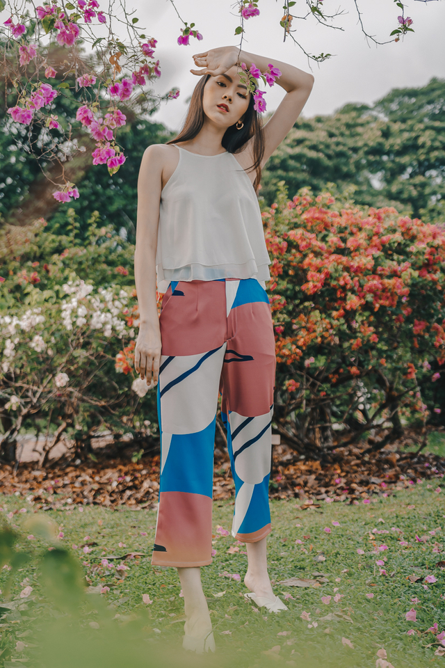 ABSTRACT PRINTED PANTS (BLUE)