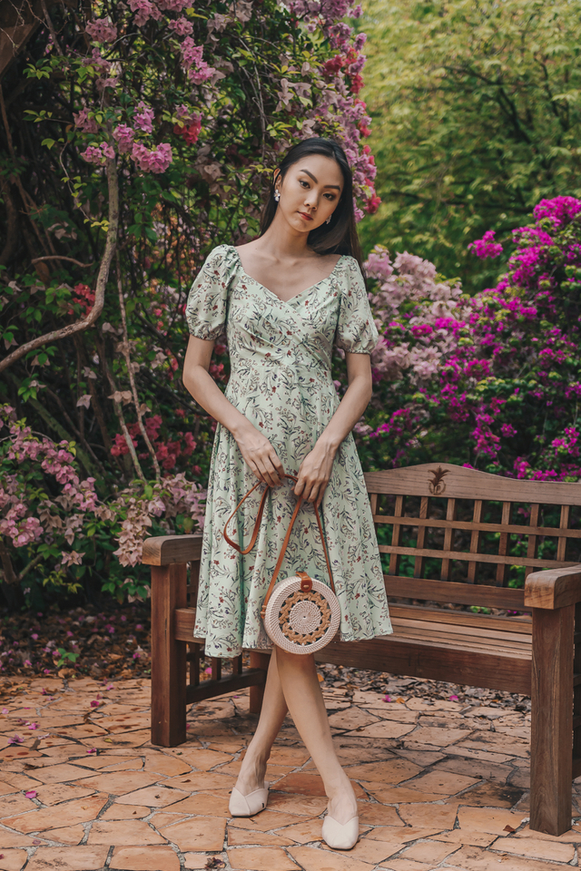PUFF SLEEVE SLIT MIDIDRESS (MINT FLORAL)
