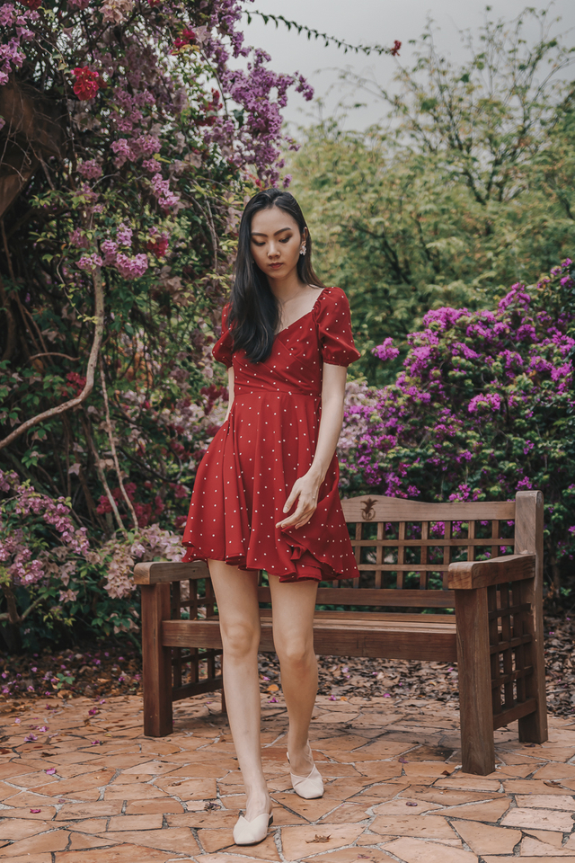 PUFF SLEEVE SKATER DRESS (RED POLKADOT)