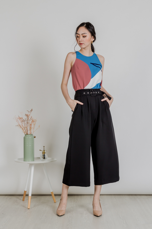 BELTED CULOTTE PANTS (BLACK)