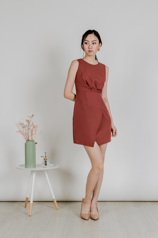 ELISA WORK DRESS (DARK ROSE)