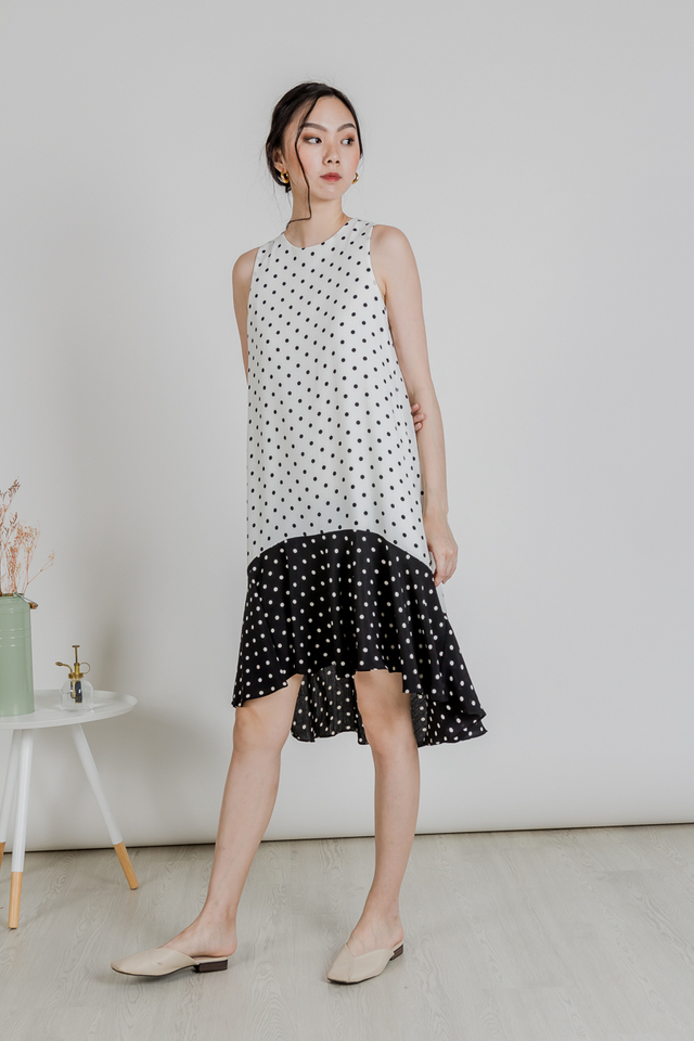POLKADOT DUAL TONE DRESS