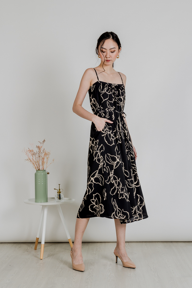 BERLIN SPAG MAXI DRESS (BLACK BRUSH STROKE)