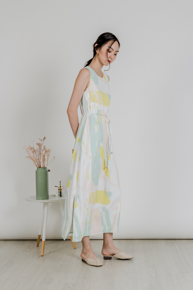 ABSTRACT SLIT MAXI DRESS (GREEN)
