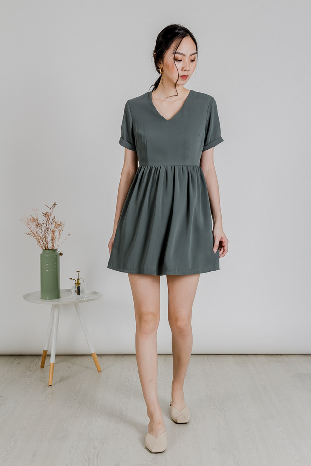 BABYDOLL SLEEVE DRESS (FERN GREEN)