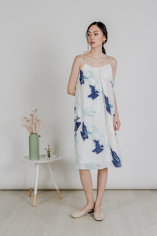 ABSTRACT TENT DRESS (NAVY)