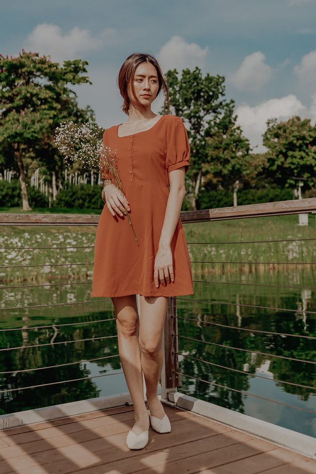 LELA PUFF SLEEVE  BUTTON DRESS (RUST)