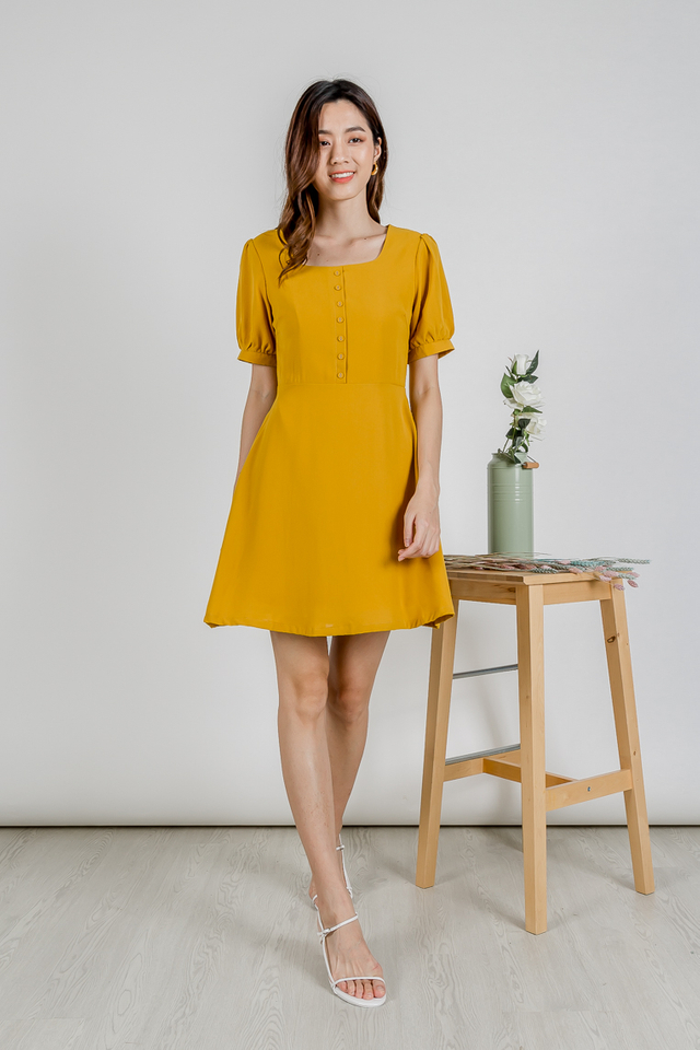 LELA PUFF SLEEVE  BUTTON DRESS (MUSTARD)